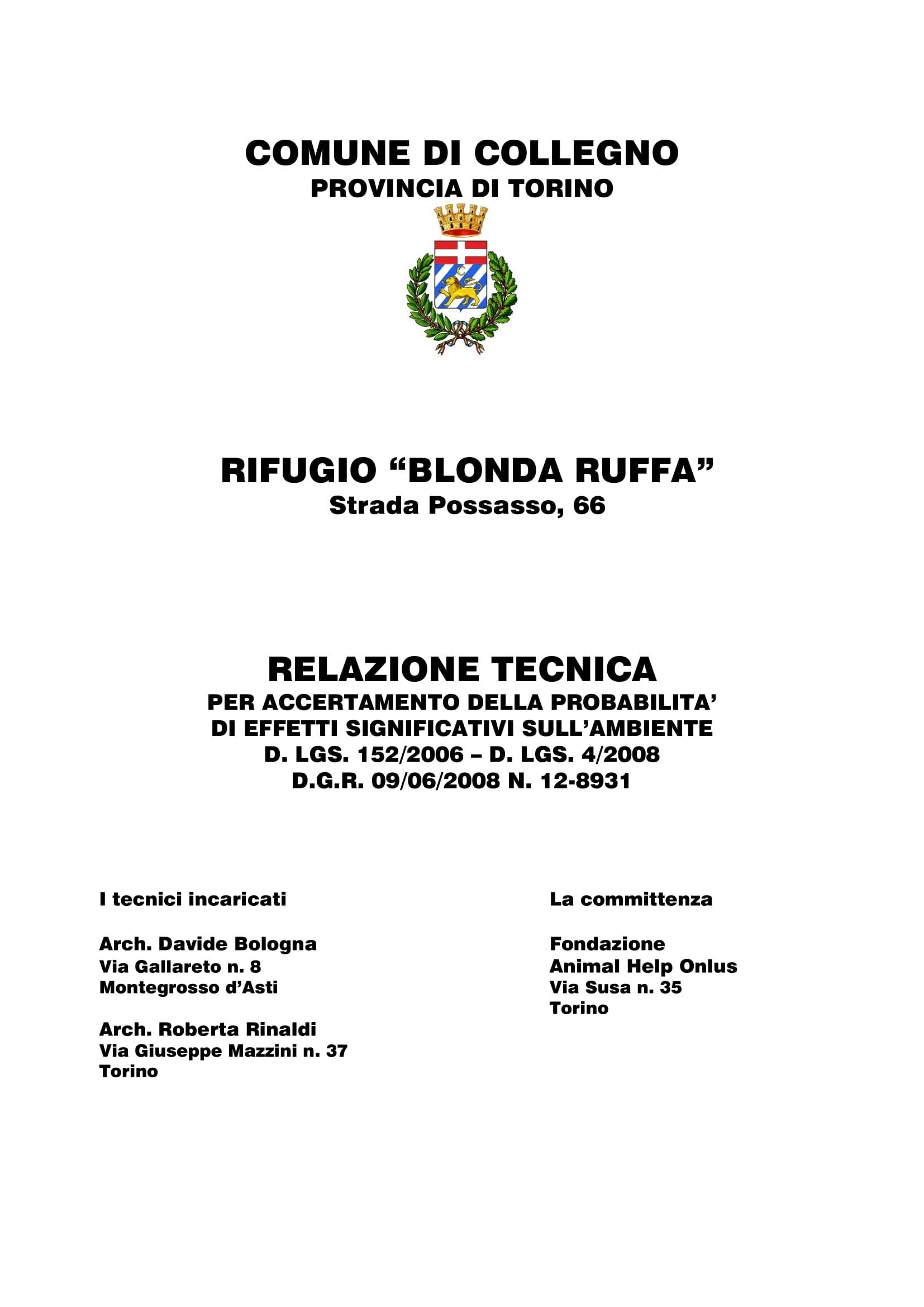 """Rifugio """"Blonda Ruffa"""" Collegno (TO)"""